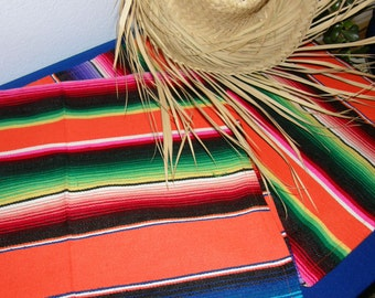 Orange Striped Mexican Serape Cloth Table Runner or Table Cloth - Bright Orange with Stripes and Fringe - Made from Mexican Serape Fabric