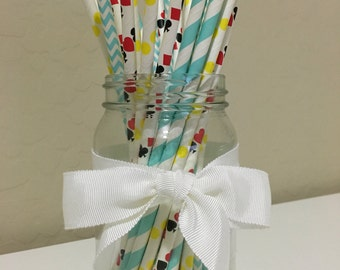 25 Alice in Wonderland Inspired Paper Straws / Cake Pop Sticks