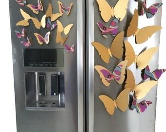 Gold Butterflies/ Butterfly Magnets/ Gold Metal Magnetic Butterflies/ Home Decor/ Tye Dye Butterfly Decor/ Butterfly Decorations/ Kids Decor