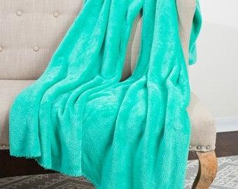 Teal Blanket/ Green Blanket/ BLANKET/ THE LEGGIE/ Leg Hole (patent pending)/ Home Decor/ Plush Blanket/ Soft Blanket/ Cozy Blanket