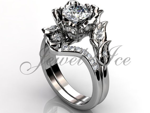 Platinum Diamond Unusual Unique Flower Engagement Ring Bridal
