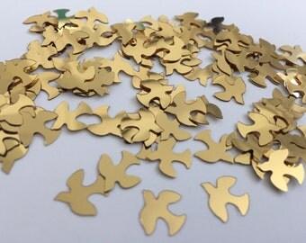 100 Gold Dove Confetti, Made of Thin Plastic Material, Wedding