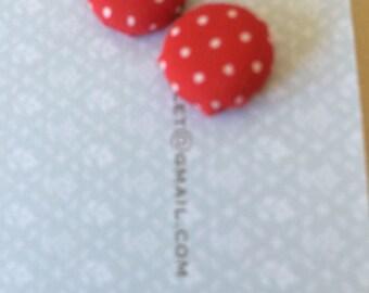 Covered Button little spot Earrings 12mm