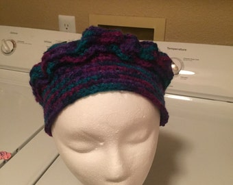 Varigated Purple/Blue Crochet Beret
