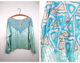 Mint Green Sequined Blouse / Iridescent Art Deco Sequin Top / Turquoise Blue and Green Silk Embellished Top L