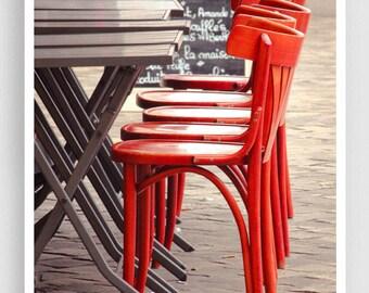 Paris Photography - Red chairs - Paris photo,Fine art photography,Paris decor,8x10 wall art,red,cafe,Fine art prints,Art Posters