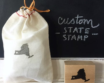 Custom State Hand-Carved Rubber Stamp, Save the Date, Wedding Invitation