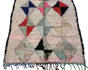 Boucherouite Vintage Moroccan Rug, Mid Century, 5 ft 11 inches by 4ft 4 inches