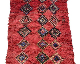 Vintage Moroccan Boucherouite Rug 5ft 3 by 4ft