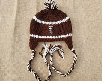 Crochet Football Earflap Hat