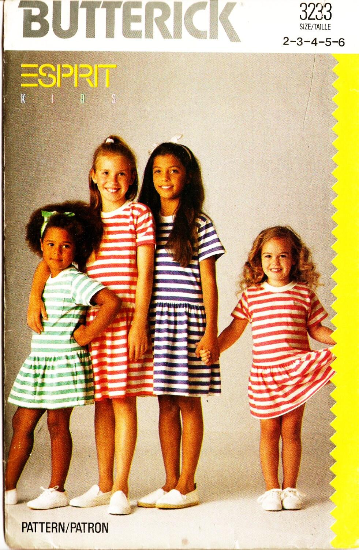 Butterick 3233 Retro 1980s Esprit Kids Knit Drop Waist T Shirt