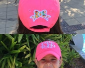 MONOGRAMMED Youth Hat with appliquéd bow-Monogrammed Kids, Monogrammed Children's Hat, Monogrammed Kids Cap, Lilly Pulitzer, Preppy Kids
