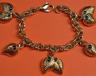Lanvin Vintage Bracelet Chain Charms Gold Tone Multicolor Small Cabochons 1980s