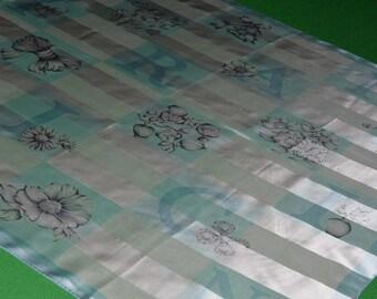 Vintage NINA RICCI Paris Seoul Printed Silk Square Scarf  Blue Flower