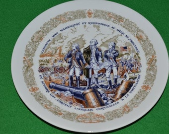 Vintage Collectible LIMOGES  D'Arceau Limoges Lafayette Porcelain China Dish Plate Set 3 Military Revolutionary War