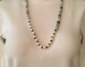 """20"""" Amazonite & Freshwater Pearl Necklace on Leather Cord"""
