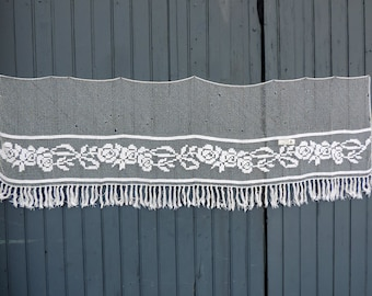 A beautiful, hand made, vintage french, fillet lace, chimney valence panel with a classic Art Deco roses