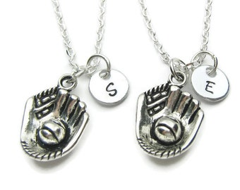 2 Personalized Baseball Necklaces, 2 Best Friends Necklaces,Baseball Necklaces,Baseball Best Friends Necklaces,Monogram