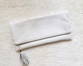 White Leather Oversize Foldover Clutch