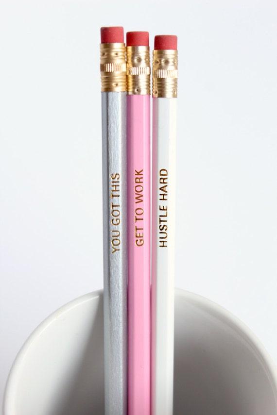 Motivational Pencils, You Got This Pencil, Hustle Hard Pencil, Get To Work Pencil, Motivational Pencil Set, Stocking filler Stocking stuffer