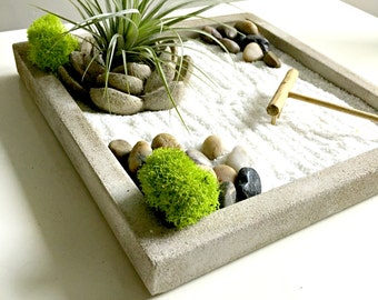 Zen garden/ air plant terrarium -  Living decor DIY kit - gift for any occasion- zen decor- zen garden yin and yang terrarium