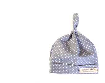 Grey and White Polka Dot-Baby Top Knot Hat-Newborn-12 months