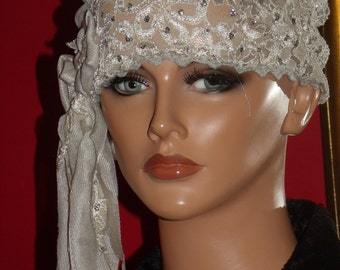 Taupe Flapper Hat Cloche 1920 style Personalized  Antique  style  Headpiece