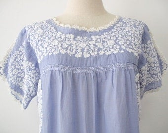 Embroidered Mexican Dress Cotton Tunic In Blue, Wedding Dress, Boho Dress, Hippie Dress