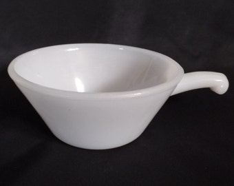 Anchor Hocking Fire King White Milk Glass Soup Bowl with Handle