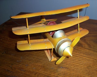 Vintage Biplane Airplane Metal Hanging Model Excellent Condition Yellow Display