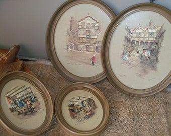Set of 4 Vintage Clyde Cole Paul Porter British Artist Oval Lithographs