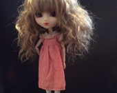 Pretty lace trimmed,tea stained dress for Pullip or Blythe