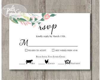 Wedding Meal Option Reply Card,  Food Icon Meal Choice, Personalized Wedding Reply Card, Floral Shades of Pink and Green, PGwreath