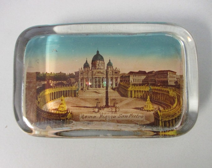 "4.25"" x 2-5/8"" Vintage Glass Block Paperweight ST. PETER'S SQUARE, Rome Vatican (c. 1920s)"