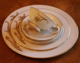 """Lenox China """"Daybreak"""" Pattern T417 Gold Flowers and Gold Trim - 5-Pc Place Setting: Dinner, Salad, and Bread Plates; Cup and Saucer"""