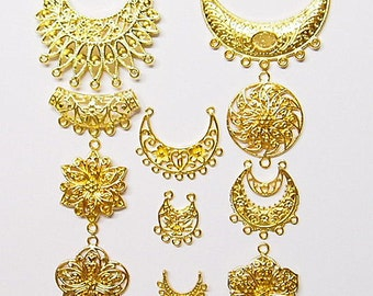 11 Different Gold Plated Jewelry Connectors for Pendants, Necklaces, Earrings, Nice