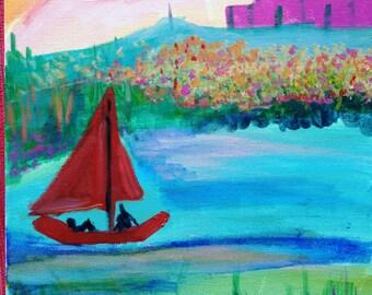 "Art Print of Original Acrylic Painting - ""Bobbing"""