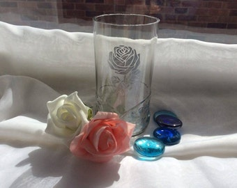Rose Etched onto Recycled Beer Glass