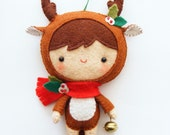 PDF pattern - Reindeer pixie - Felt softie, Christmas tree ornament, hand sewing DIY project, easy sewing pattern, pocket toy