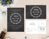 Chalkboard wedding invitations and RSVP cards set printed | Rustic country wedding | Black and white wedding invitations cheap