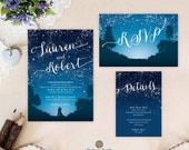 Starry night wedding invitation set | Blue mountain wedding invitations printed | Cheap wedding sets: invitation, RSVP, enclosure card