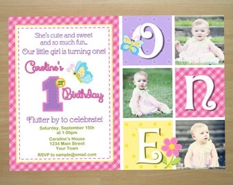 Butterfly 1st Birthday Invitation - Digital File (Printing Services Available)