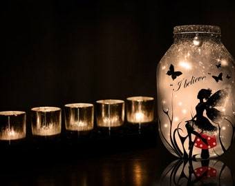 Hand painted Fairy Lantern, red, candle holder, light jar, night light, wedding centrepiece, MADE TO ORDER.