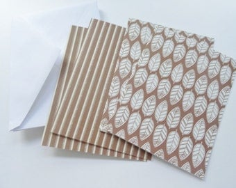 Contemporary Fall Note Cards, Contemporary Leaf Cards, Brown Striped Cards, Blank Cards, Thank You Cards, All Occasion Cards, Set of 4