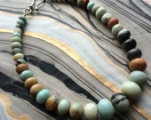 Multi-Amazonite Graduated Rondelle Necklace with Silver Tone Hook Clasp