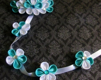 Aqua and White Kanzashi Flower Barrette Braid