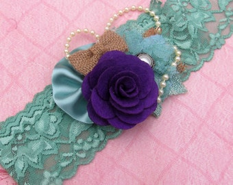 Purple Flower and Olive Green Lace Stretchy Headband
