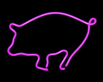 Pink Pig Neon Freestanding Art Tabletop Bacon Pork Sculpture
