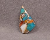 ORANGE SPINEY OYSTER With Kingman Turquoise and Bronze Metal Cabochon