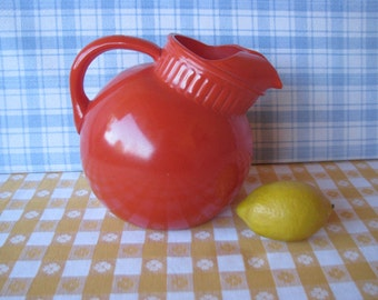 Mid Century Tilt Ball Pitcher - Fire King - Tangerine Orange - Ice Lip -  Vintage 1950's